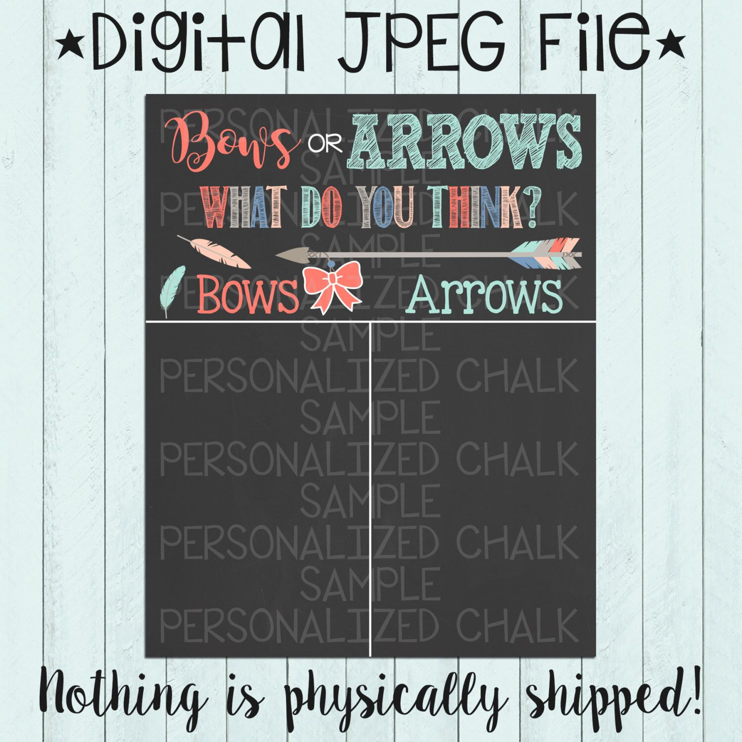 Bows or Arrows Pregnancy Gender Reveal Chalkboard