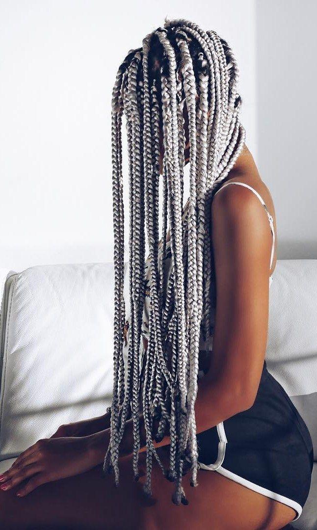 olaj_arel / grey braids Trecce Di Ragazza Nera, Trecce Ragazze, Treccine  Africane, Trecce