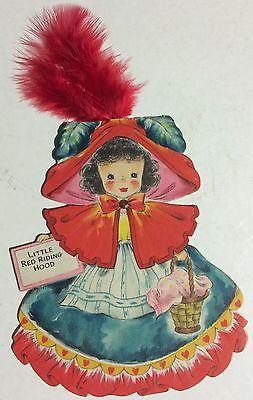 1947-Hallmark-Doll-Card-Land-Of-Make-Believe-Series-5-Little-Red-Riding-Hood-B2