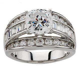 Diamonique 100 Facet 3 50 Cttw Ring Platinum Clad Qvc Com Ring Size Guide Wedding Rings Rings