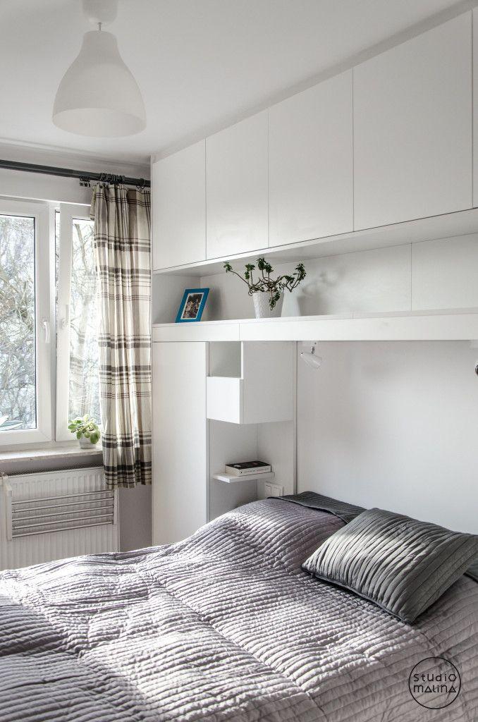 zabudowana sypialnia /schowki, półki/ sypialnia Pinterest