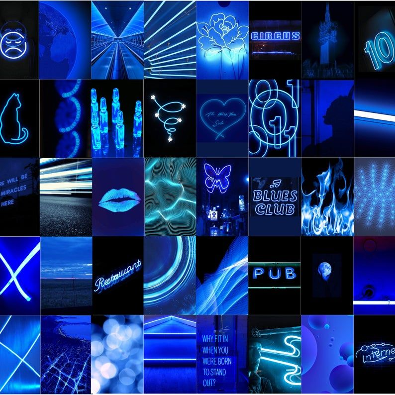 Downloadable Electric Neon Blue Collage In 2021 Wall Collage Aesthetic Colors Aesthetic Collage Electric blue neon neon wallpaper