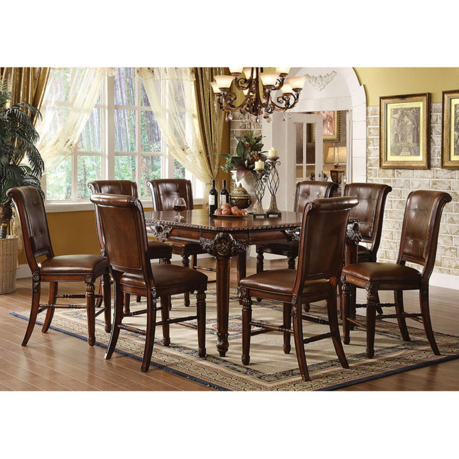 Acme Furniture Winfred 9 Piece Rectangular Counter Height Dining Magnificent Acme Dining Room Set 2018