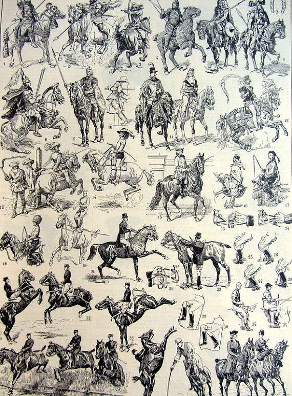 Antique horse riding 1923  engraving original  by LyraNebulaPrints, $16.00