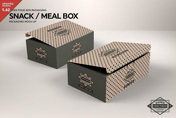 Meal Snack Food Box Packaging Mockup Packaging Mockup Food Box Packaging Design Mockup Free