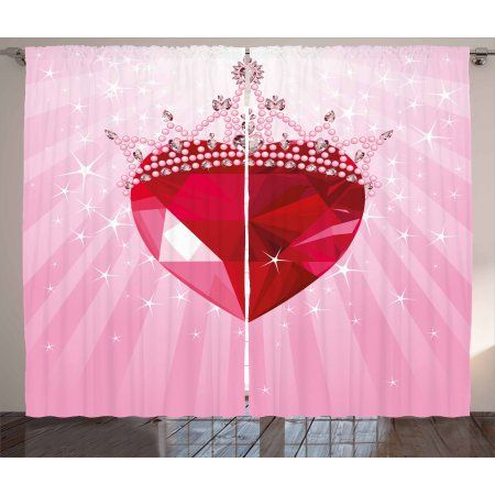 Queen Curtains 2 Panels Set, Vibrant Red Love Heart with Princess ...
