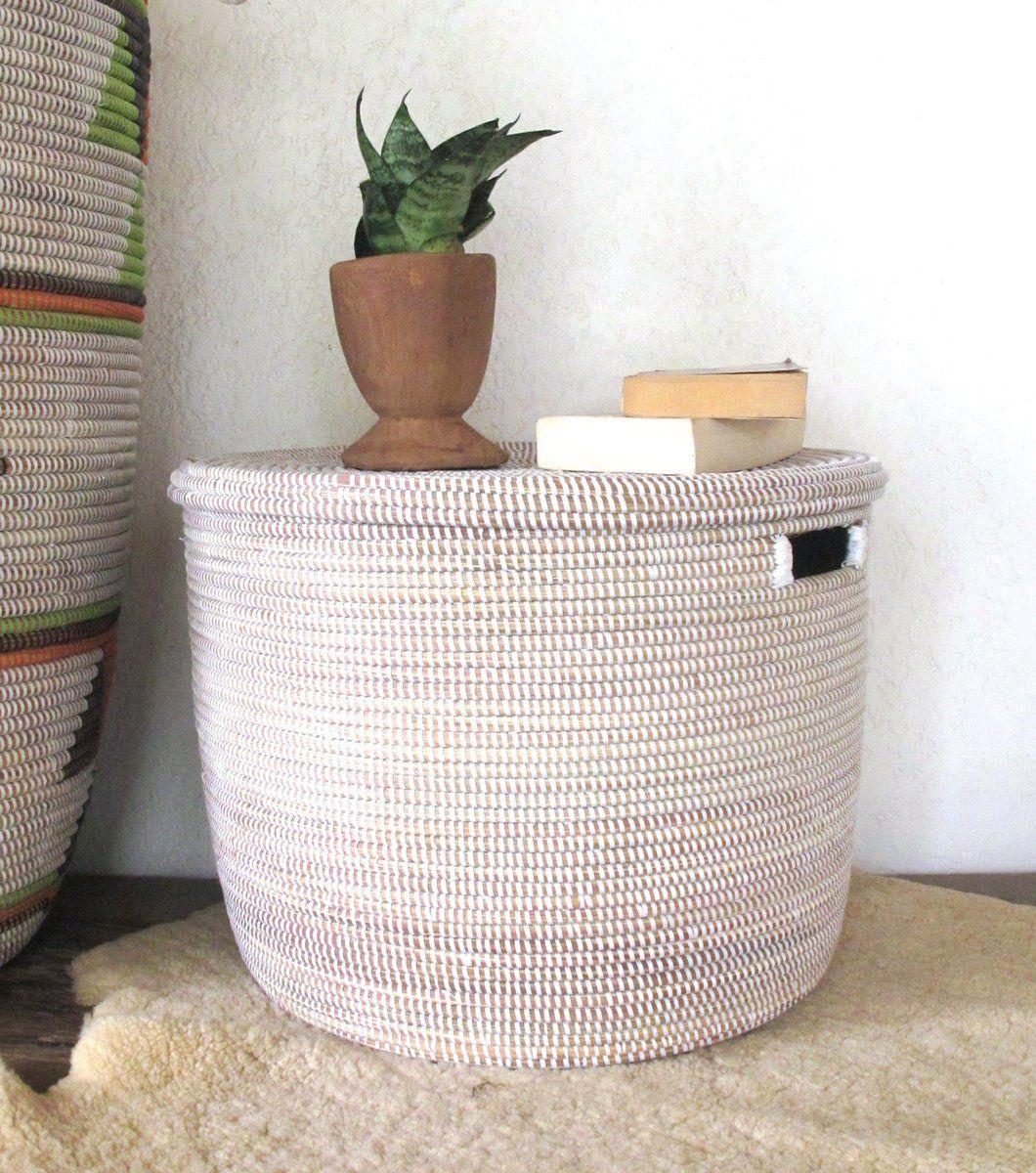Toy storage basket with flat lid in plain white boho storage toy