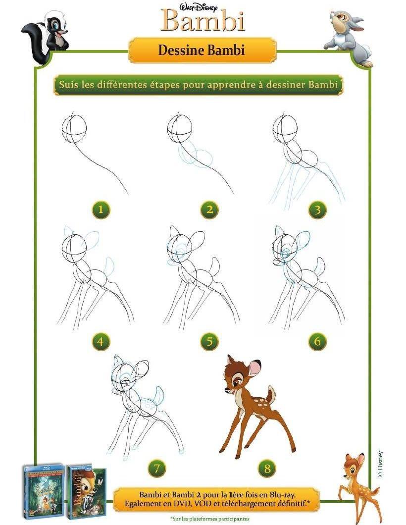 Dessiner les personnages de Disney - Comment dessiner Bambi