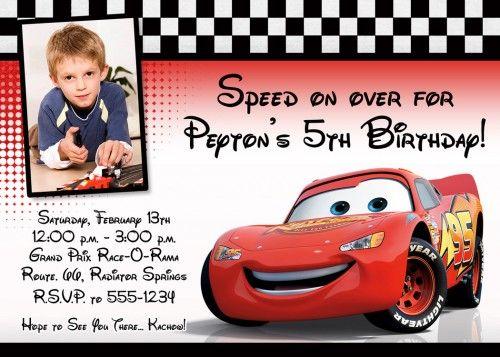 Custom Photo Birthday Invitation Cars Lightning Mcqueen Design Pixelperfectboutique Di Cars Birthday Invitations Photo Birthday Invitations Cars Birthday