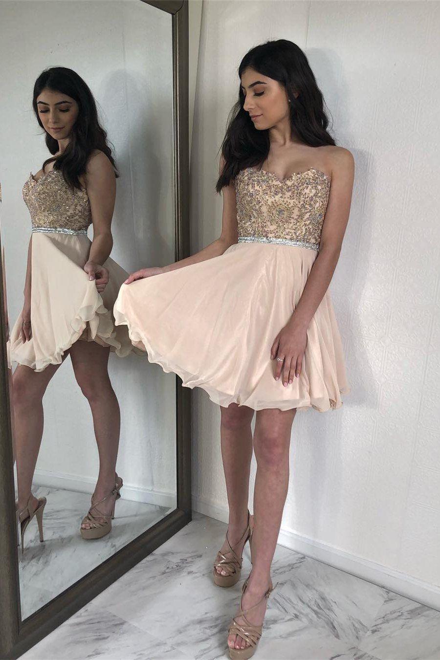 Aline sweetheart pearl pink chiffon homecoming dress with beading