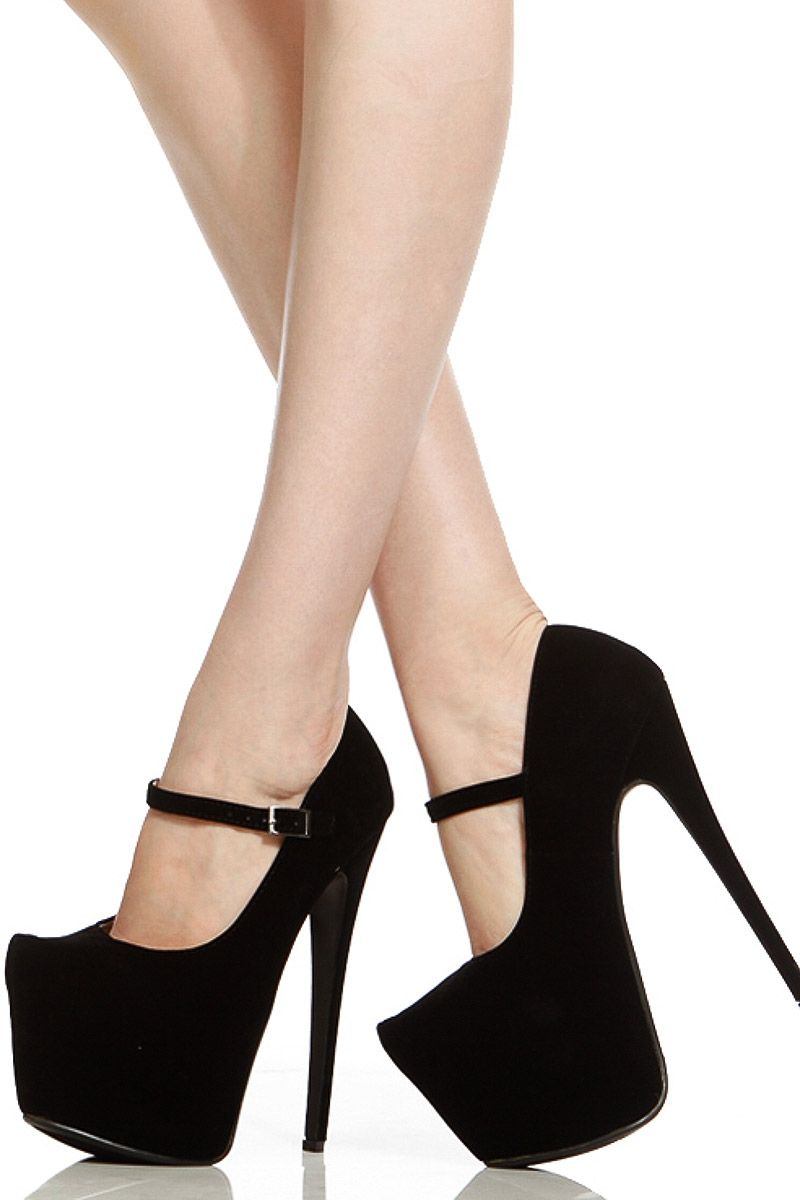 Black Faux Suede Platform Mary Jane Stiletto Heels @ Cicihot Heel ...