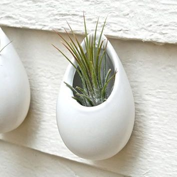 Mini Matte White Hanging Planter Ceramic Vase Pod Wall Decoration Pottery
