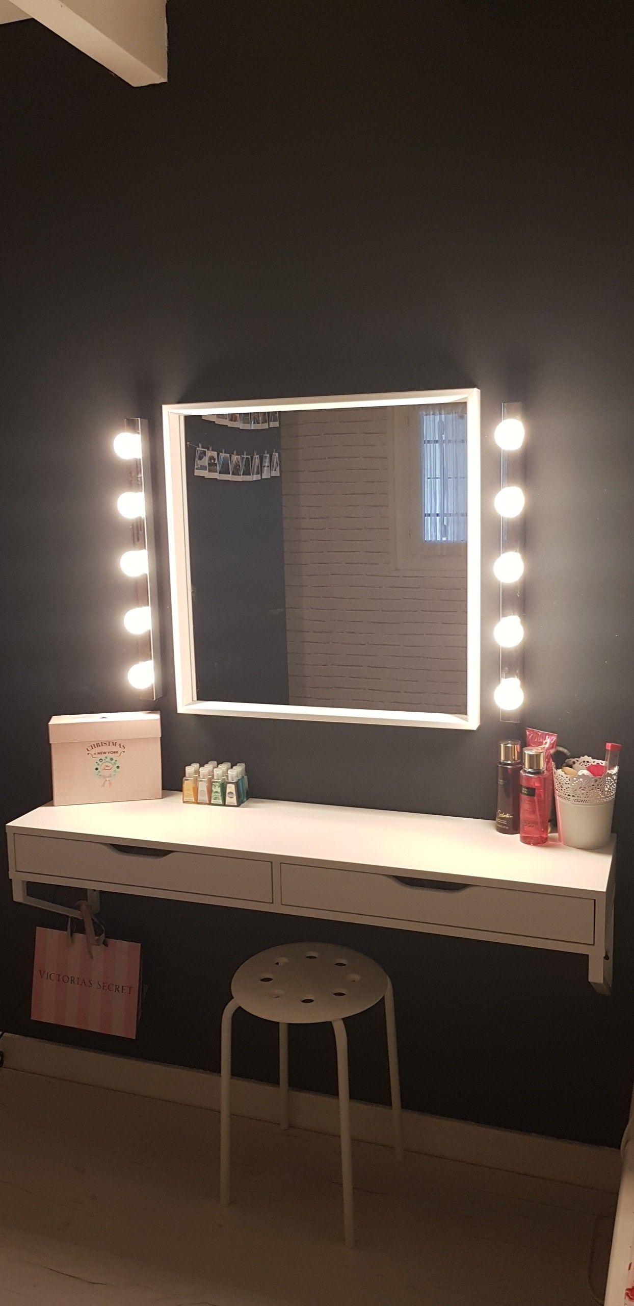 Coiffeuse maquillage ikea makeup deco diy en 2019 chambre coiffeuse miroir coiffeuse et - Ikea miroir chambre ...