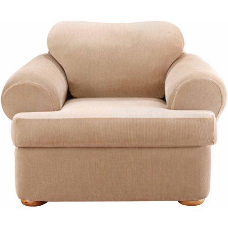Chair Slipcover T Cushion Folding Upgrade Sure Fit Stretch Stripe Separate Seat Beige