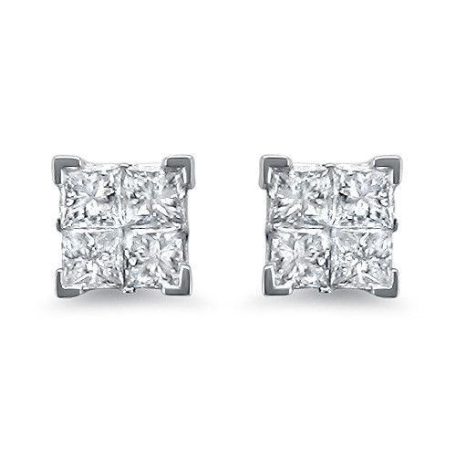 14k White Gold Princess Cut Diamond Invisible Set Stud Earrings 1 Cttw I J I2 I3