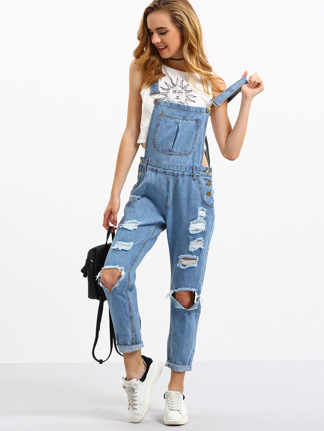 090211ba9e Shop Cutout Ripped Denim Dungarees online. SheIn offers Cutout Ripped Denim  Dungarees   more to fit your fashionable needs.