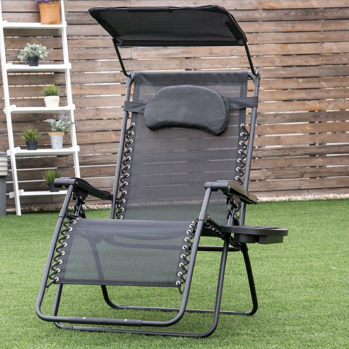Folding recliner lounge chair w shade canopy cup holder