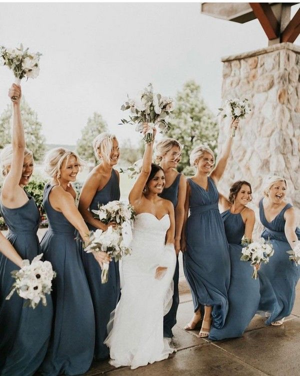 30 + Steel Blue and Dusty Blue Bridesmaid Dresses