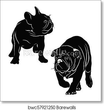 Silhouettes Of Dogs French Bulldog Art Print Poster French