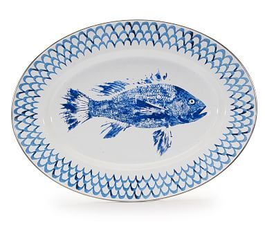 Pescado Enamel Oval Serving Platter With Images