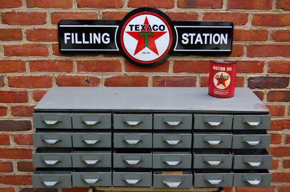 Charming Vintage Industrial Metal Steel Parts Bin Storage Cabinet Hardware Store  Storage Parts Cabinet 24 Drawer Vintage Gas Station
