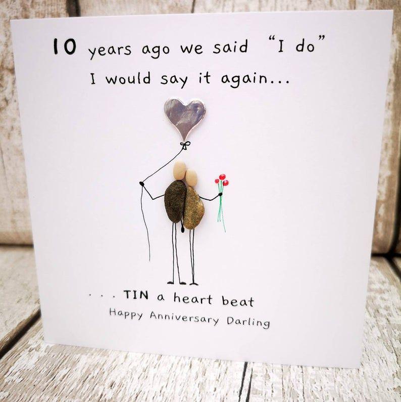 10th Anniversary Card Husband 10th Anniversary Card Wife Tin Anniversary Keepsake Quirky Card Unusual Card Pebble Anniversary Card In 2020 Anniversary Cards 10th Anniversary Quote 10th Anniversary Gifts
