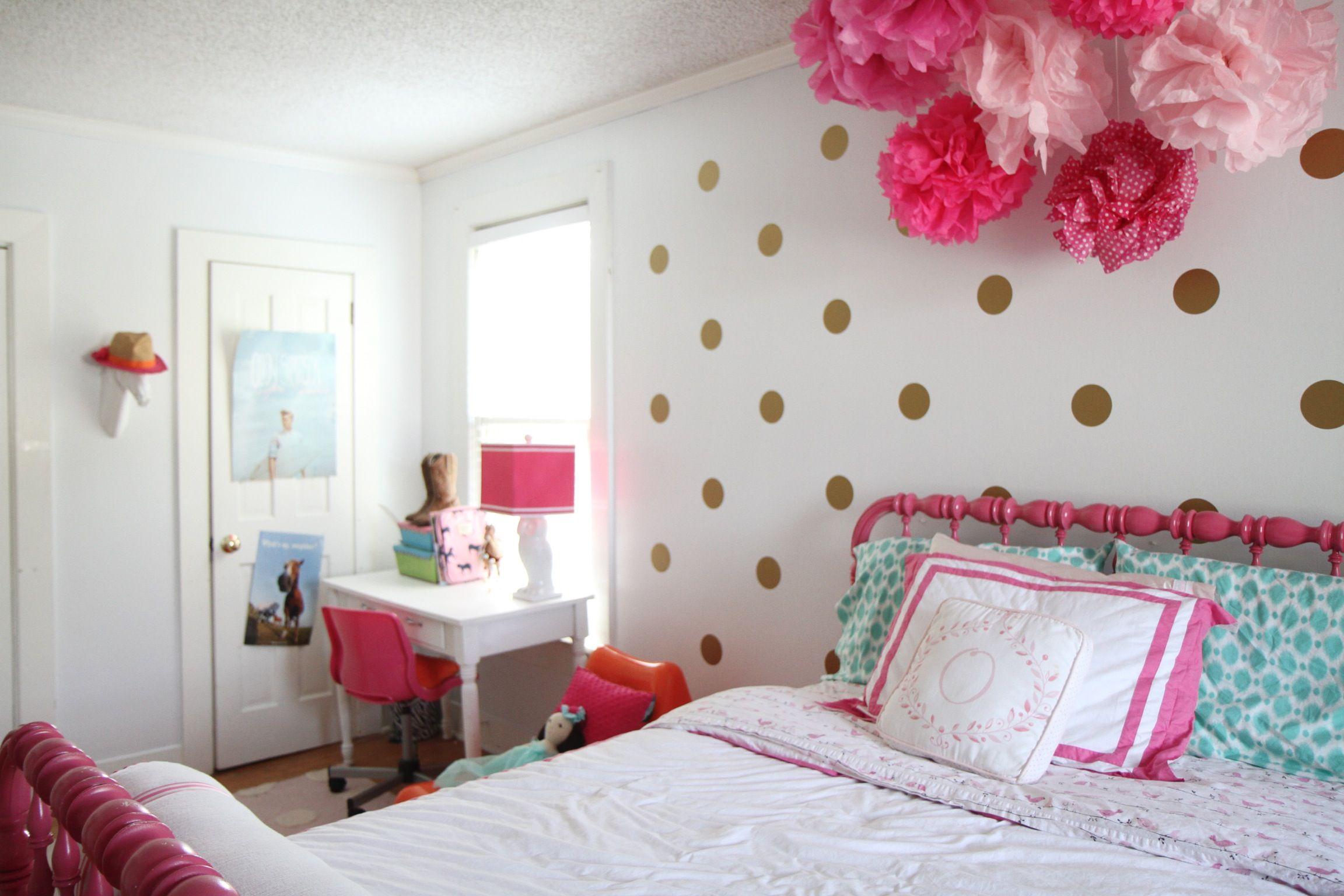 My Daughters Big Girl Tween Room Gold Polka Dots Glam