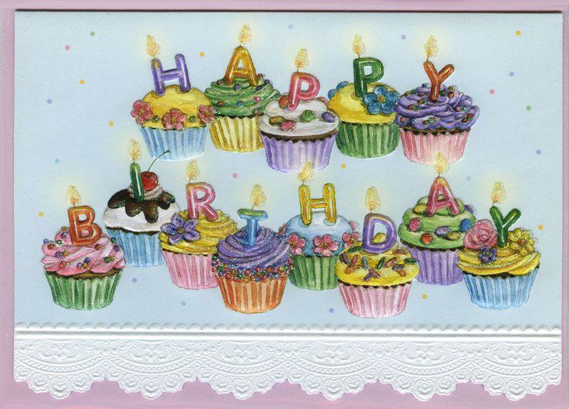 Cupcake Birthday Card by Carols Rose Garden at Kann Imports in – Cupcake Birthday Card