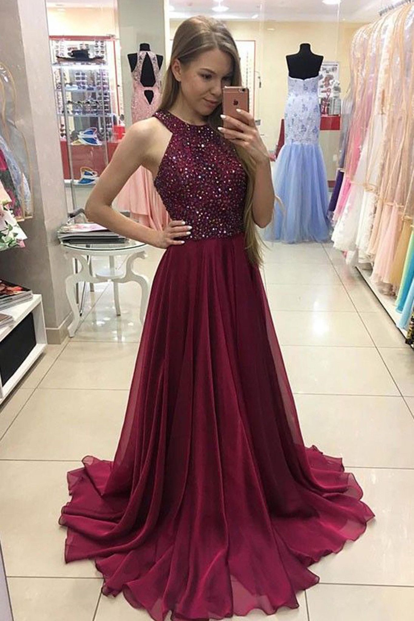Long prom dress halter necklineparty gownchiffon sequins oneck