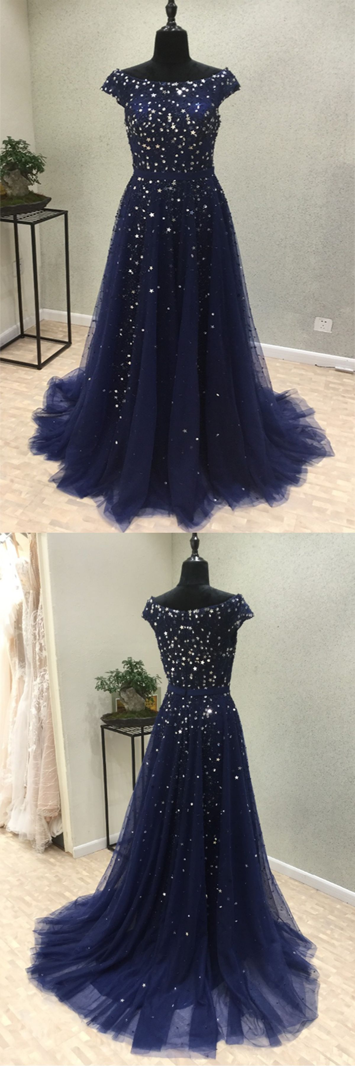 Sparkly prom dress blue tulle long evening gown for prom