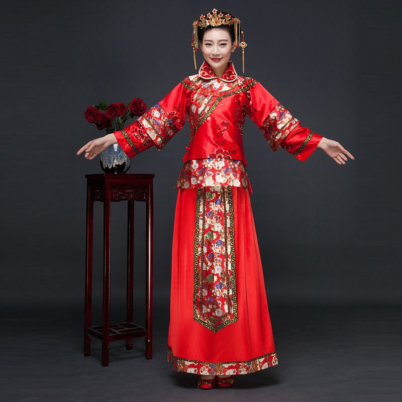 New Arrival Red Chinese Bride Dress Women Suit Blouse + Skirt ...