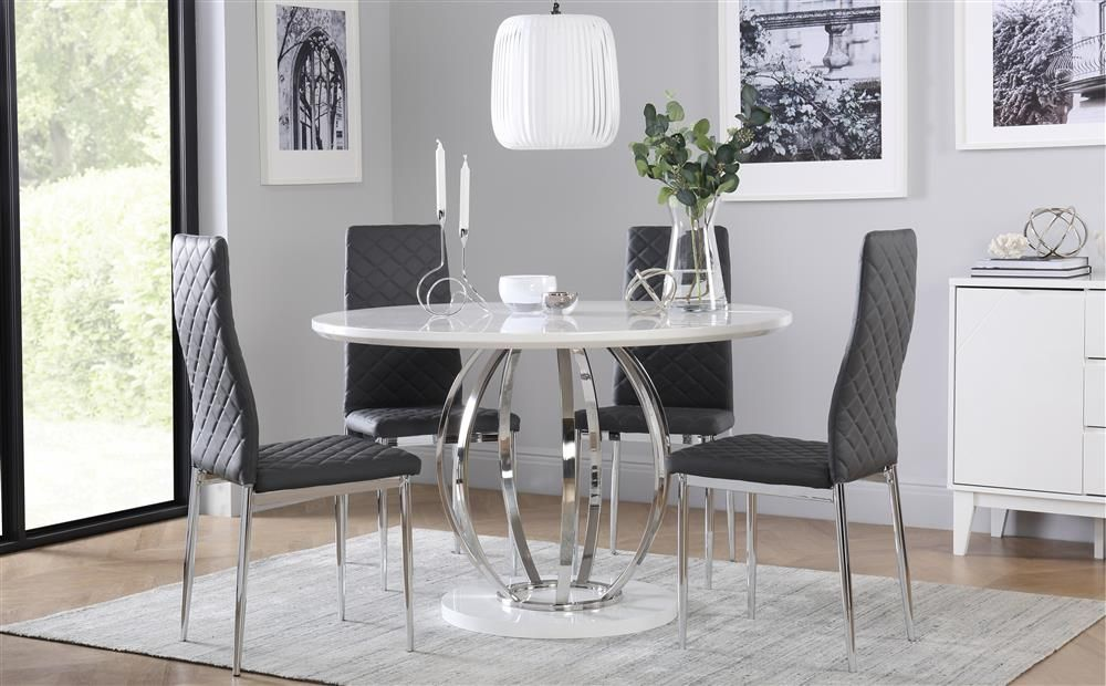 Savoy Round White High Gloss And Chrome Dining Table With 4