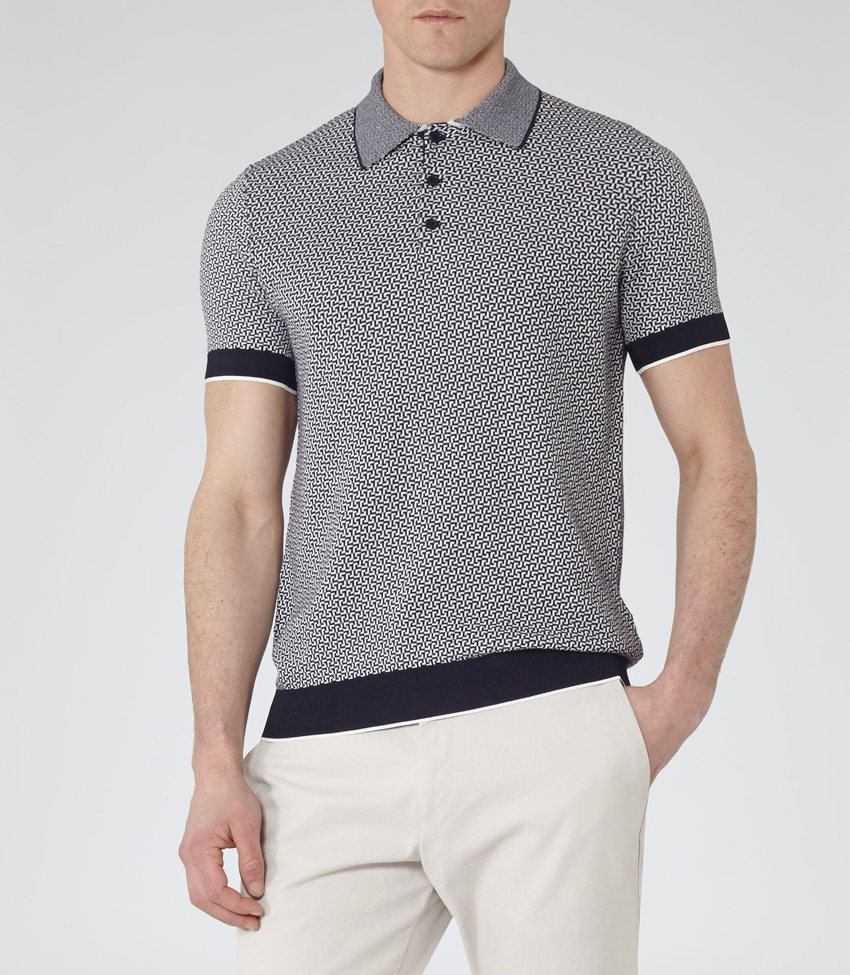Mens Navy Geometric Knitted Polo Shirt - Reiss Folio