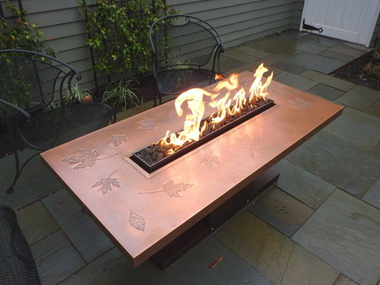 Rectangular Propane Fire Pit Table Which Combined With Black - Wrought iron fire pit table