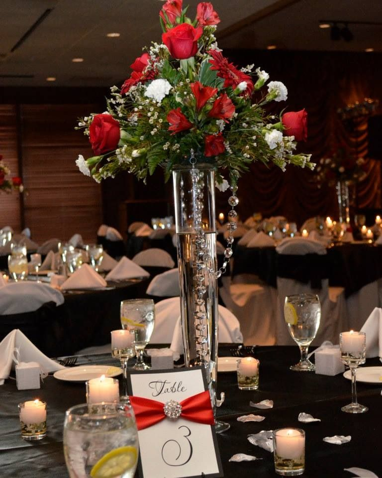 Red Wedding Ideas Reception: Black And White Wedding With Red And Silver Accents