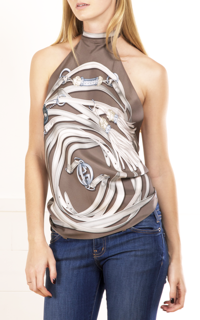 Gucci Taupe Printed Scarf Triangle Top