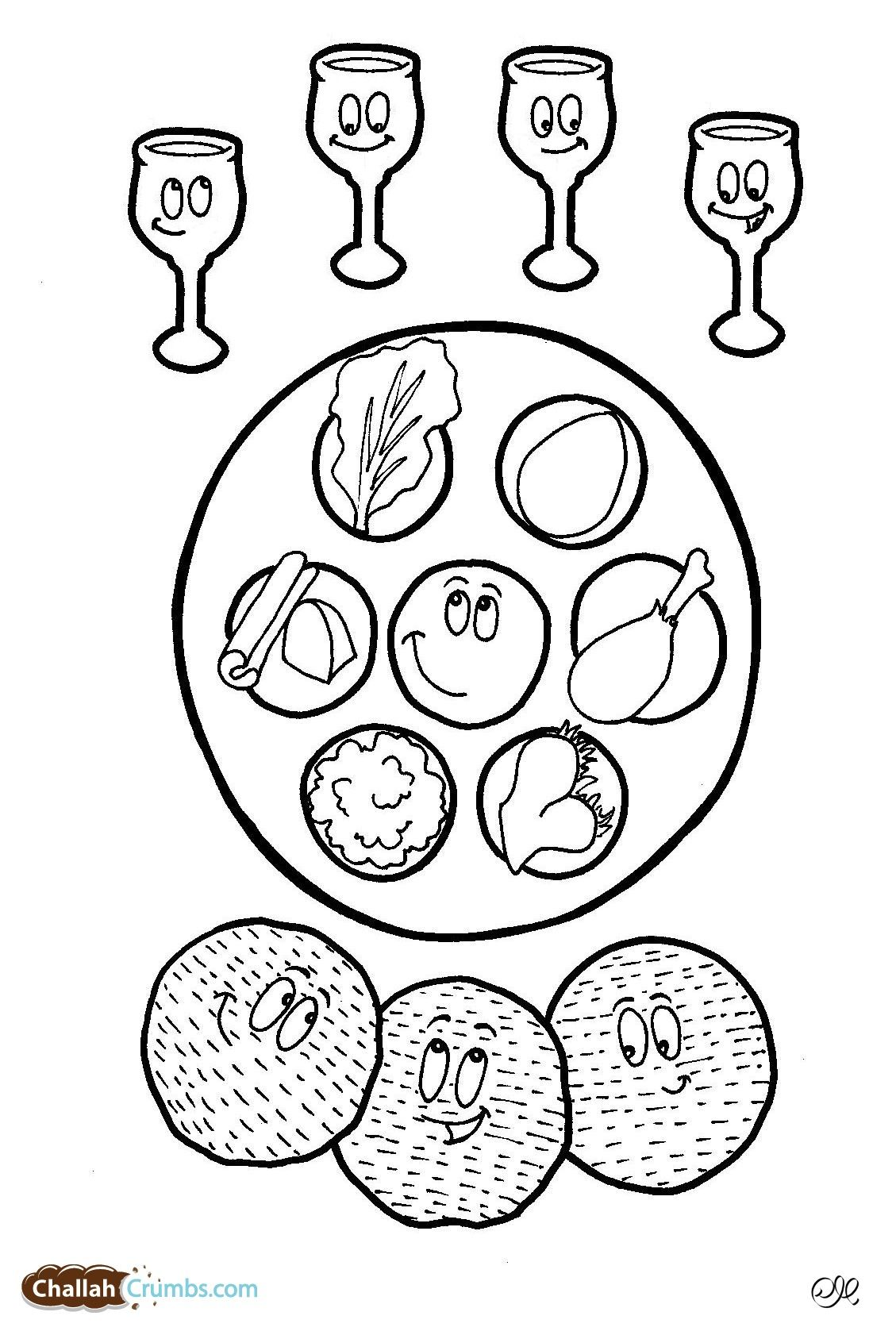This coloring page has it all: four cups of wine, three pieces of ...