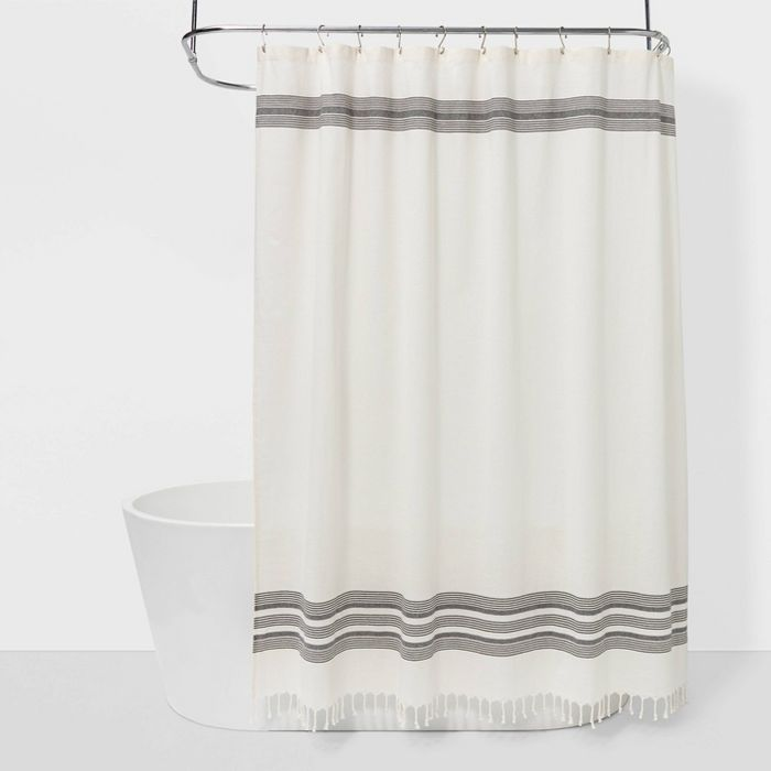 Striped Fringe Shower Curtain Off White Threshold In 2020