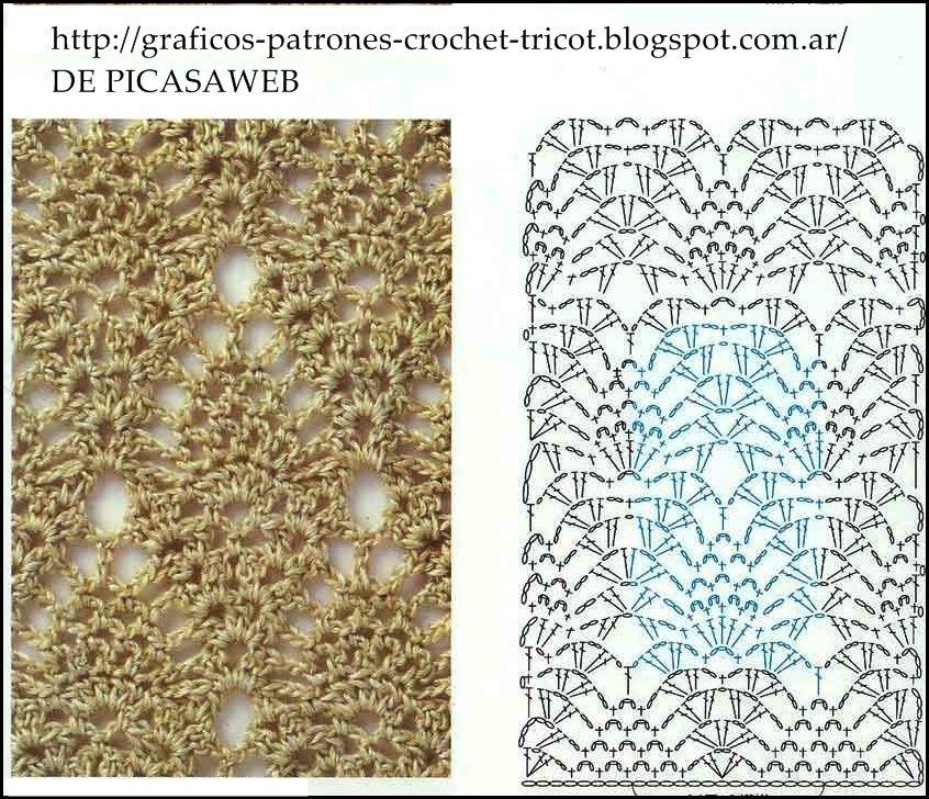 PATRONES=GANCHILLO = CROCHET = GRAFICOS =TRICOT = DOS AGUJAS: Colecciòn de puntos tejidos a ganchillo con sus graficos