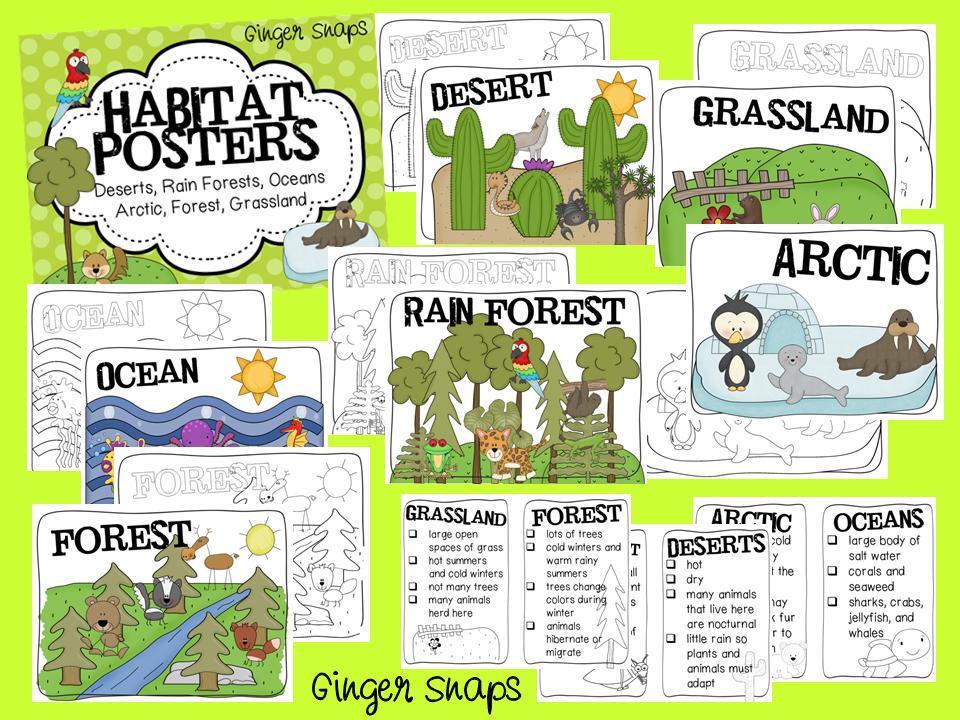 Project 2. Habitat Chart. Examples of different habitats