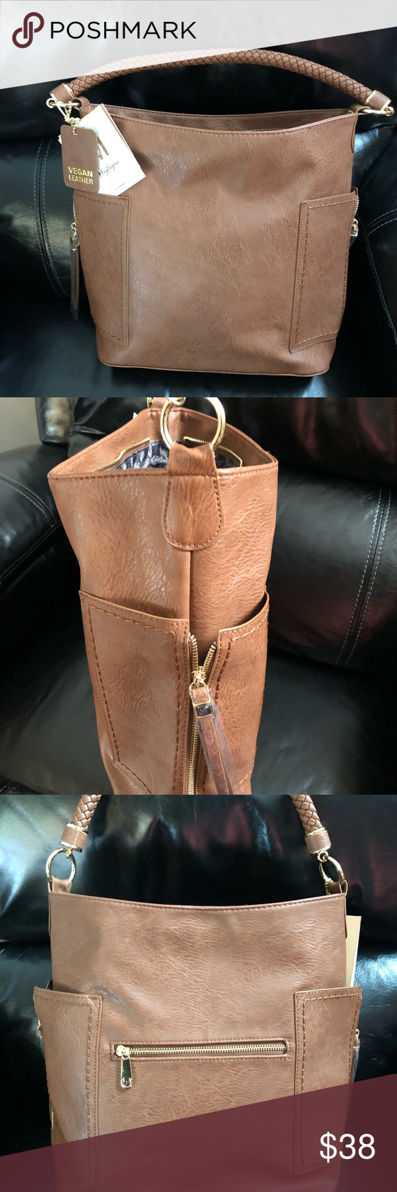 stable quality hot-selling cheap Miztique tan vegan leather purse Brand new with tags ...