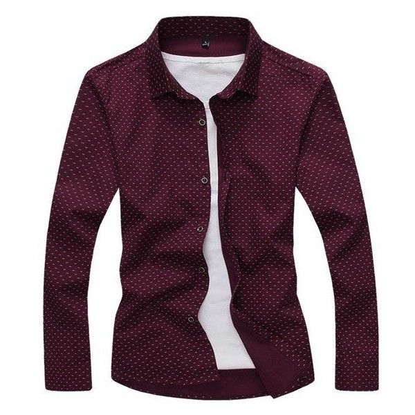 's Fashion Business Printed Casual Long-sleeved Dress Shirt ($22) ❤ liked on Polyvore featuring men's fashion, men's clothing, men's shirts, men's casual shirts, mens longsleeve shirts, mens dress shirts, mens casual dress shirts and mens long sleeve casual shirts