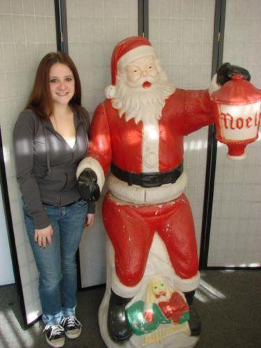 Huge Vintage 2 Piece Santa Claus Blow Mold Chimney Light