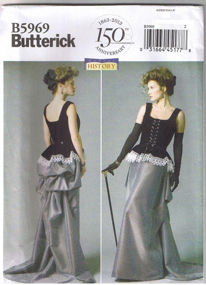 c23106f6503 Victorian Steampunk Dress Corset Skirt Bustle Peplum Sewing Pattern 6 8 10  12 14  Butterick  Misses