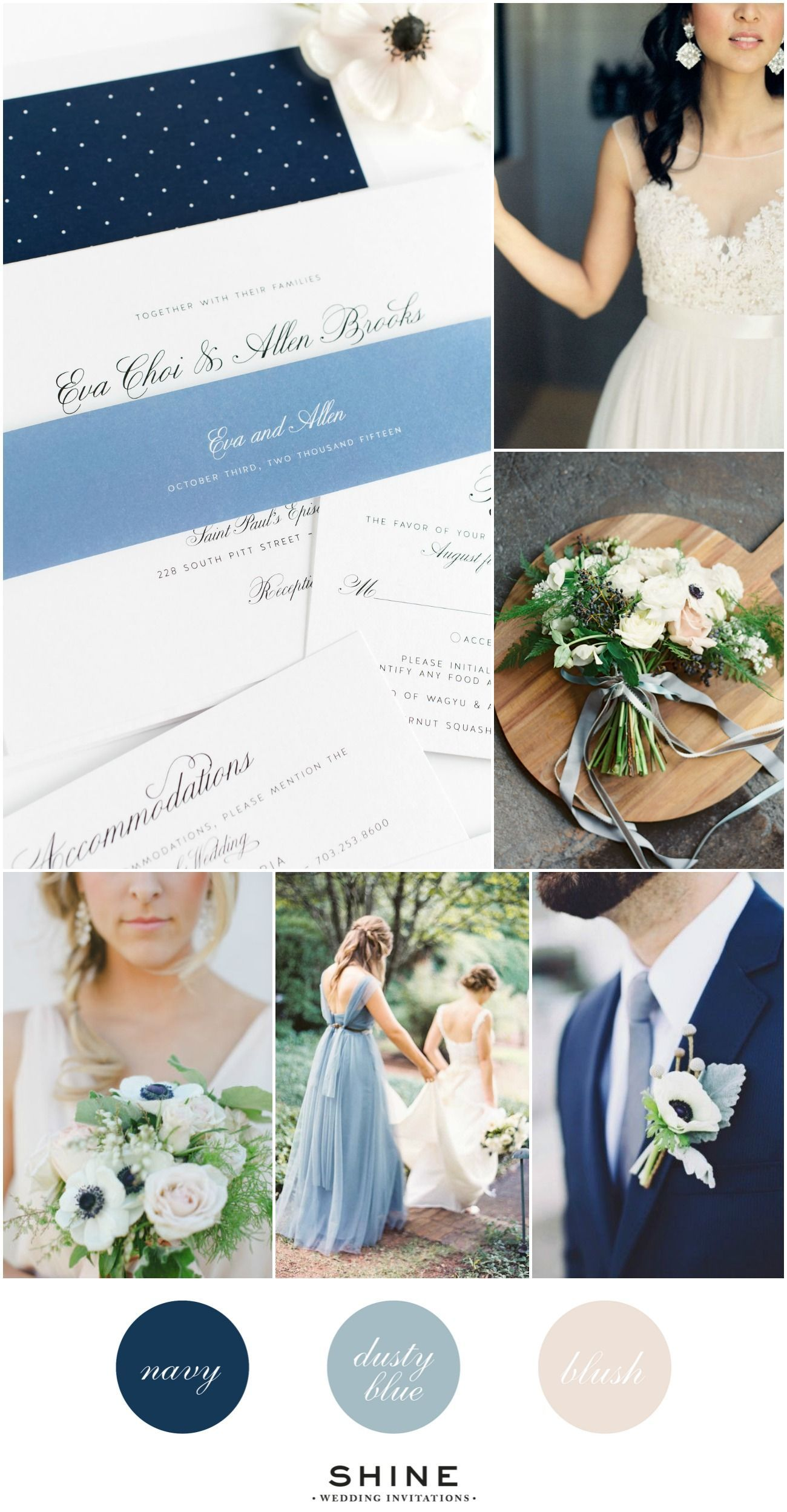 Dusty blue navy and blush wedding inspiration anemone bouquet