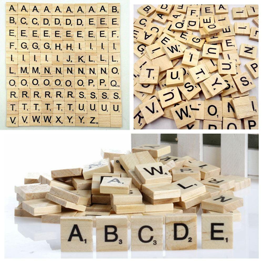 1e1562b00083 100Pcs Wooden Alphabet Scrabble Tiles Mixed Black Letters Numbers Crafts  Wood