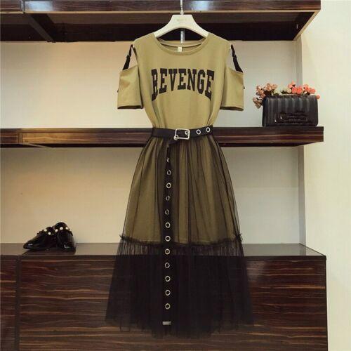 Details about Kawaii Clothing Two Piece Set T-Shirt Skirt Mesh Chiffon Black Dress Ulzzang Emo