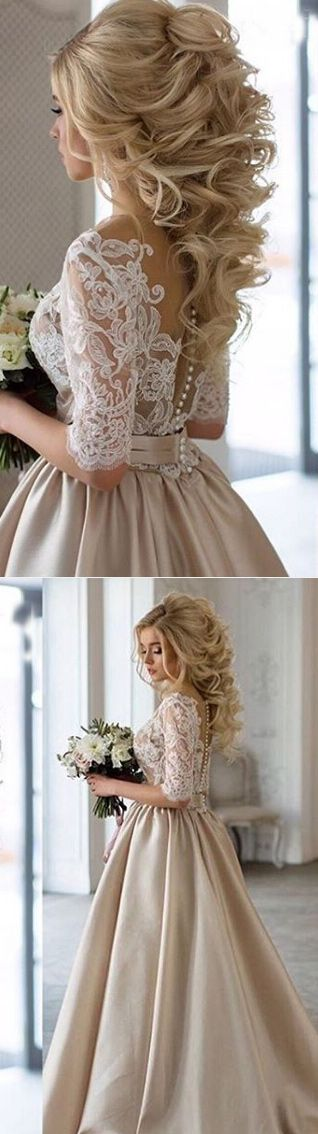 A Line Bateau Long Sleeves Satin Wedding Dress With Lace Pleats