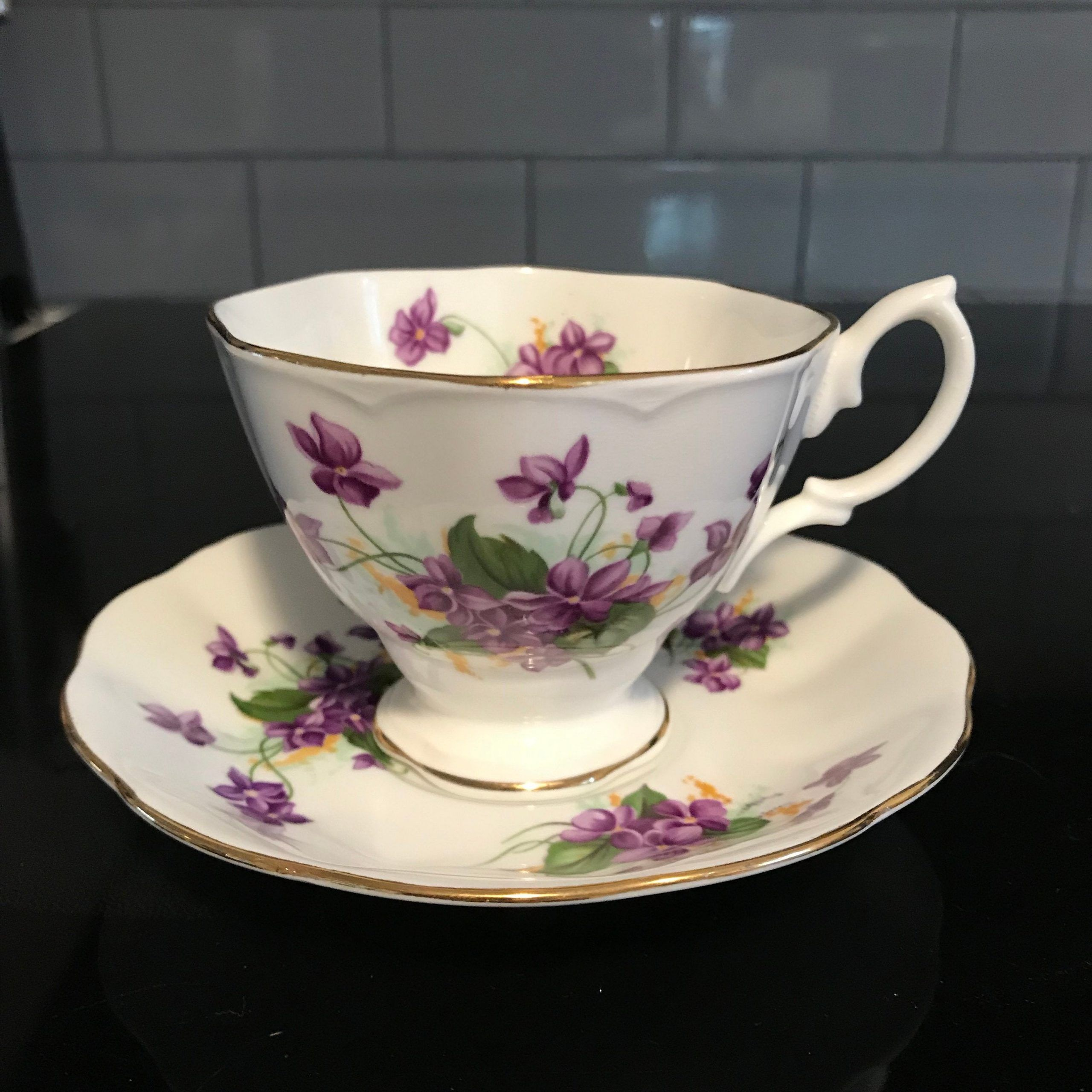 Royal Albert tea cup and saucer England Fine bone china purple Violets yellow centers flower farmhouse collectible display coffee | Carol's True Vintage and Antiques #cuppatea