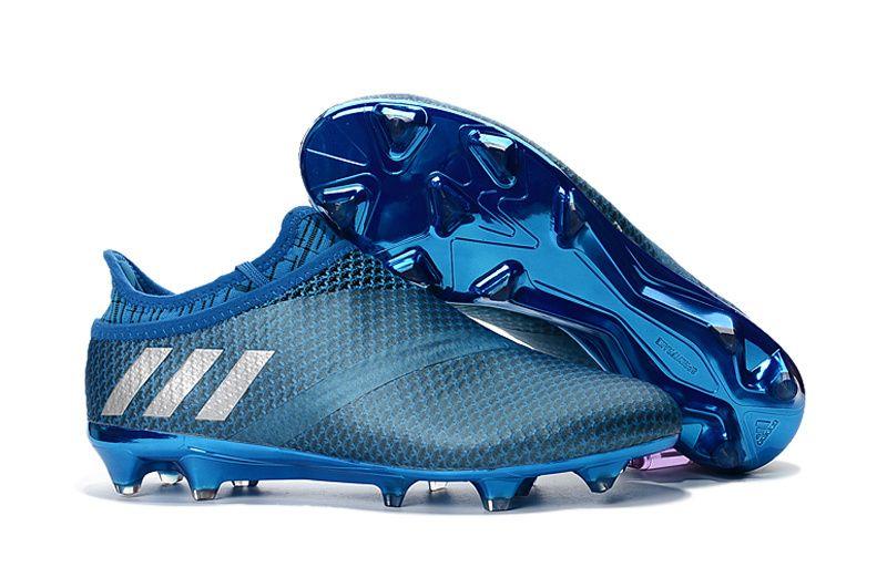 Adidas Messi 16+ Pureagility Blue Flyknit Waterproof Men FG Football Boots